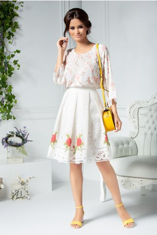 Bluza Alexia alb cu imprimeu floral roz