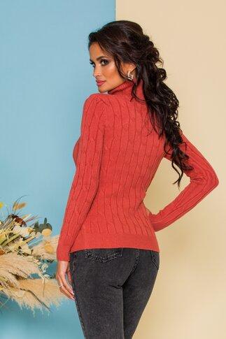Bluza Alia caramizie din tricot cu model in relief