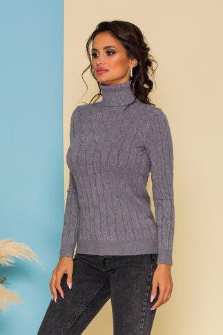 Bluza Alia gri din tricot cu model in relief