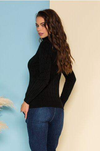 Bluza Alia neagra din tricot cu model in relief