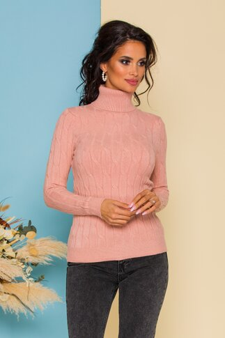 Bluza Alia somon din tricot cu model in relief
