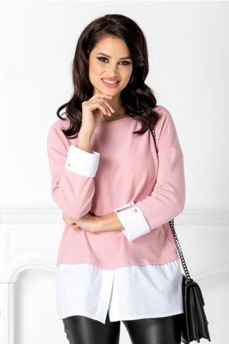 Bluza Alpe roz cu mansete albe
