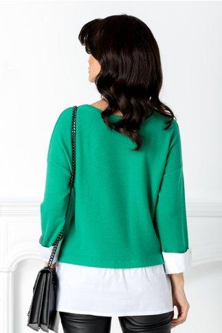 Bluza Alpe verde cu mansete albe