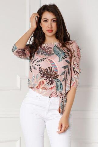 Bluza Amelie bej cu imprimeu tropical