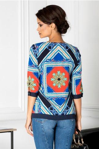 Bluza Amira albastra cu imprimeu divers