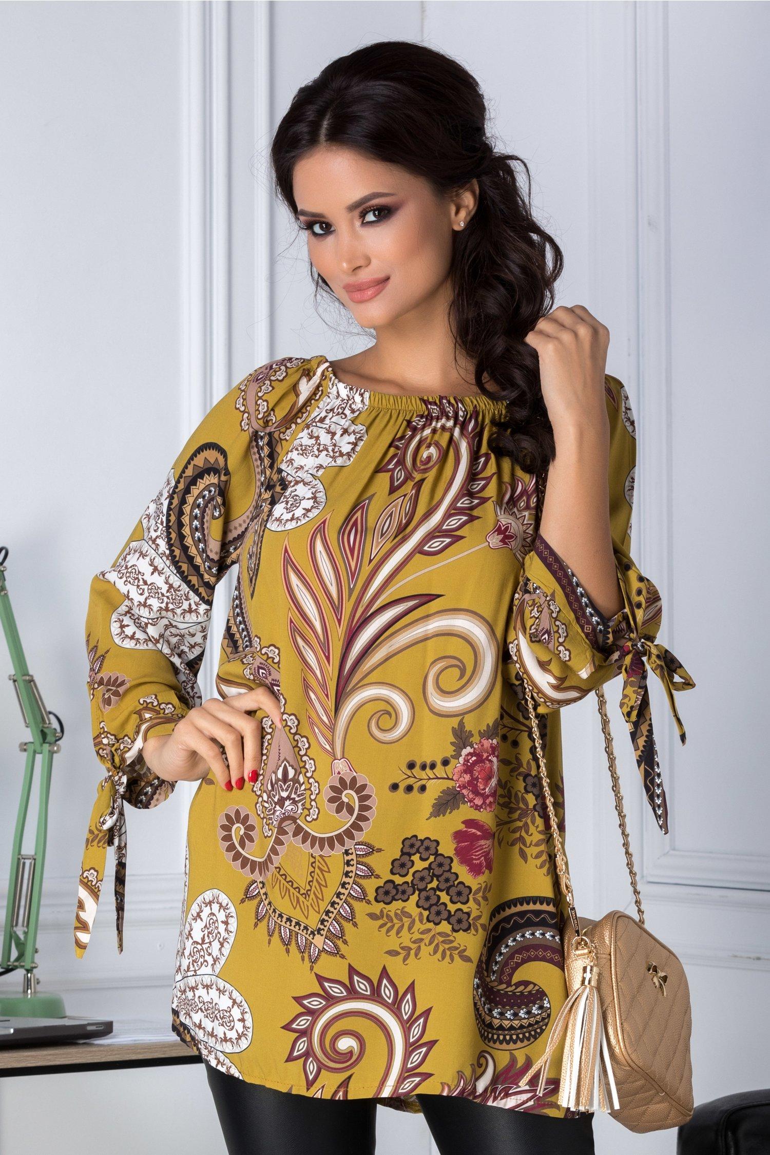 Bluza Amira galben mustar cu imprimeu divers