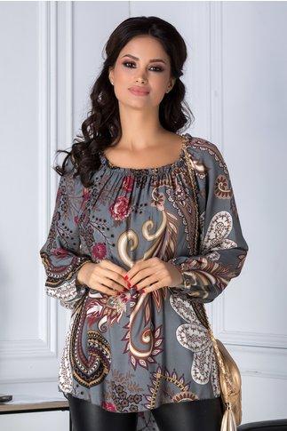 Bluza Amira gri cu imprimeu divers