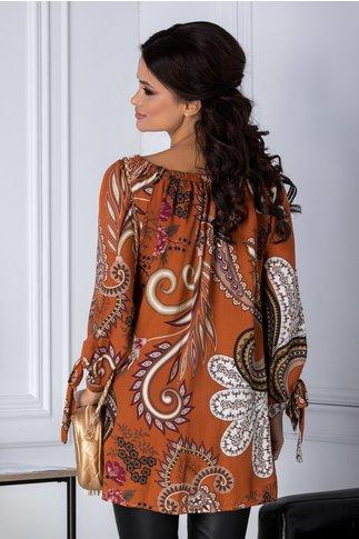 Bluza Amira orange cu imprimeu divers