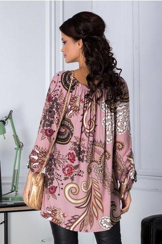 Bluza Amira roz cu imprimeu divers