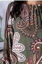 Bluza Amira verde cu imprimeu floral