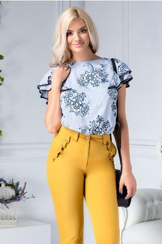 Bluza Amy cu dungi si detalii florale