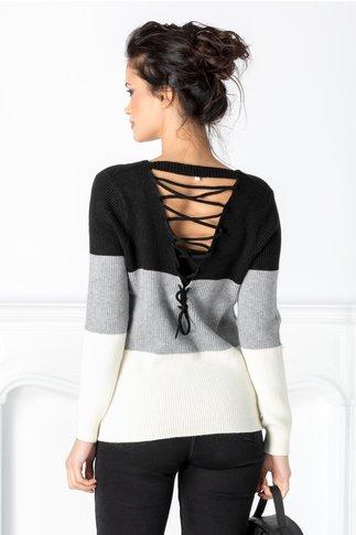 Bluza Angi casual negru cu gri si alb