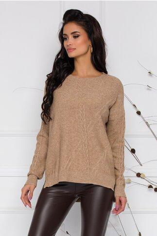Bluza Aria bej din tricot cu impletitura discreta