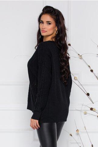 Bluza Aria neagra din tricot cu impletitura discreta