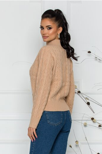 Bluza Ariana bej cu design impletit