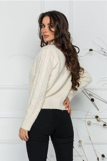 Bluza Ariana ivory cu design impletit