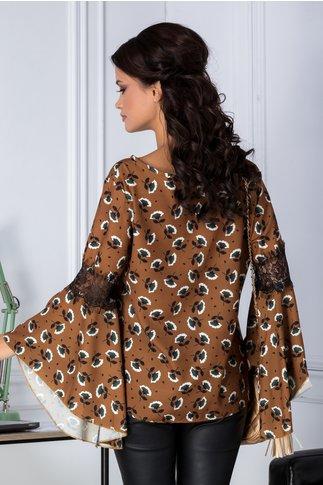 Bluza Ariana maro cu imprimeu floral