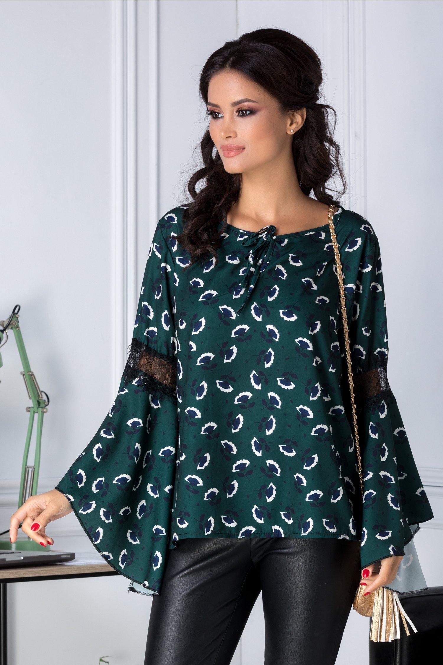 Bluza Ariana verde inchis cu imprimeu floral