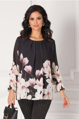 Bluza Ashley neagra cu imprimeu floral la baza