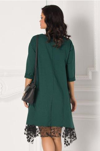 Bluza asimetrica verde cu broderie si paiete