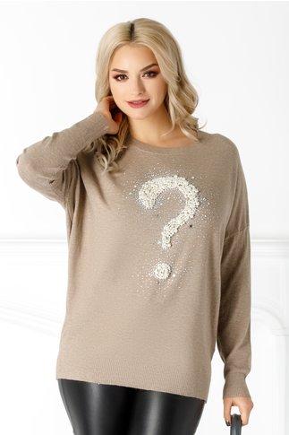 Bluza Athena bej cu aplicatii din perle