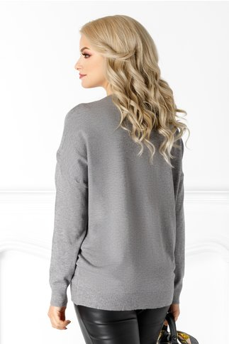 Bluza Athena gri cu aplicatii din perle