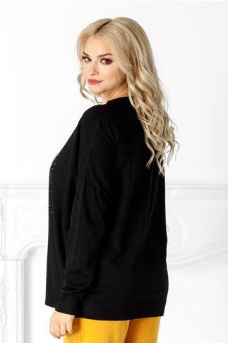 Bluza Athena neagra cu aplicatii din perle