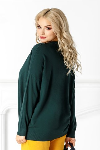 Bluza Athena verde cu aplicatii din perle