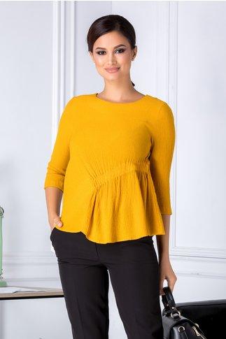 Bluza Ava galben mustar cu elastic in talie