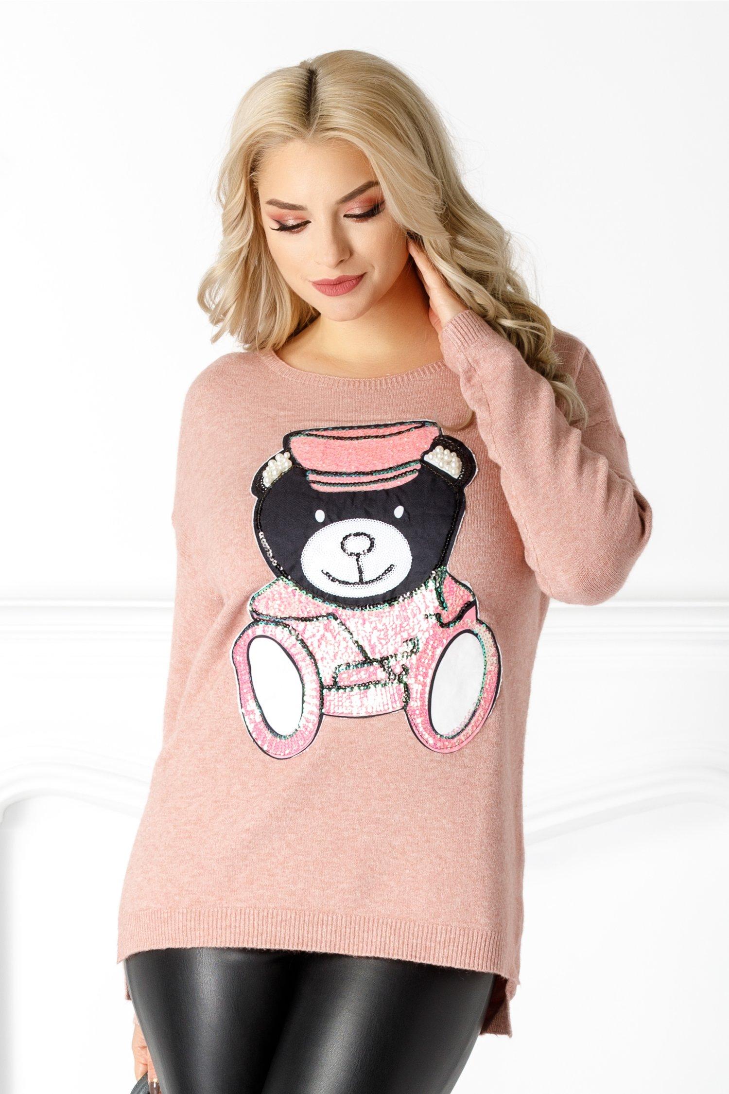 Bluza Bear roz cu paiete si perlute