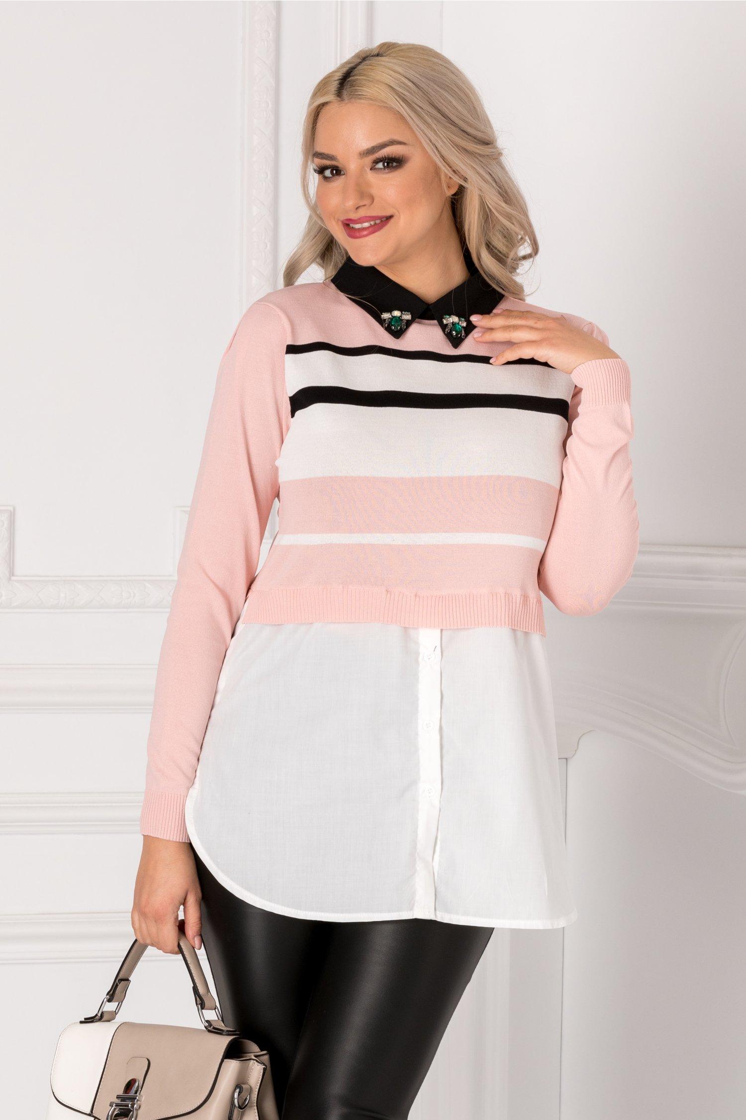 Bluza Beauty cu dungi roz