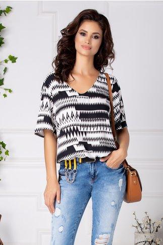 Bluza Becca casual cu imprimeu zig-zag alb negru