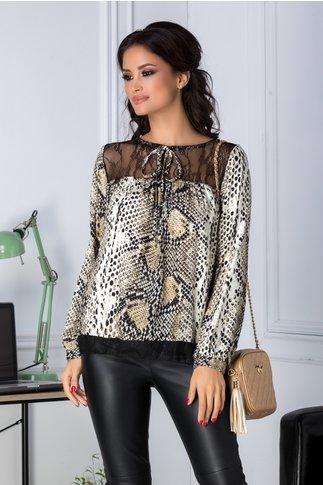 Bluza bej cu imprimeu piele de crocodil cu dantela neagra