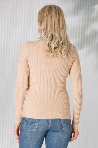 Bluza bej pe gat tip tricot cu sclipici
