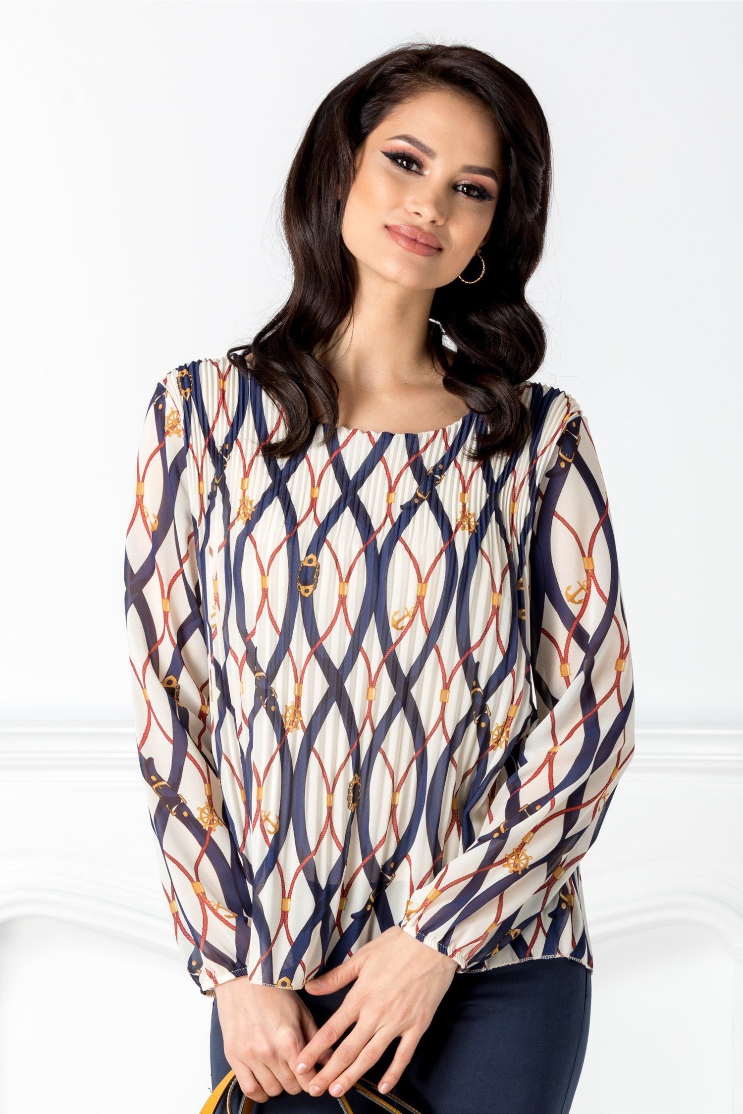 Bluza bej plisata cu imprimeuri