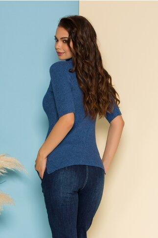 Bluza Bianca tricotata albastru petrol cu maneca scurta