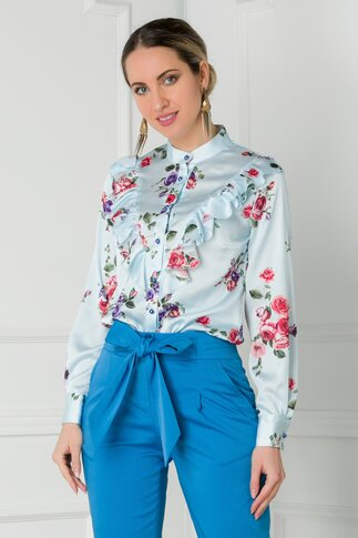 Bluza bleu cu imprimeuri florale si volanase la bust