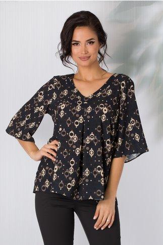 Bluza Bonnie neagra cu imprimeu divers bej