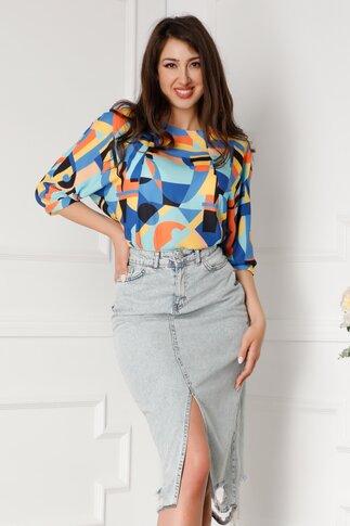 Bluza Brenna cu imprimeuri geometrice multicolore