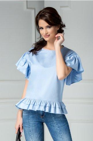 Bluza Brise bleu din bumbac cu volanase