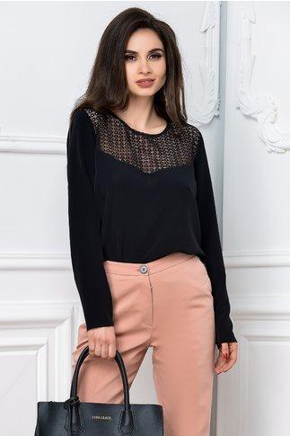 Bluza Brise neagra din voal cu dantela