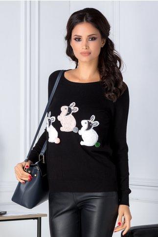 Bluza Bunny neagra cu iepurasi pufosi