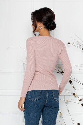 Bluza Caitlyn roz cu decolteu in V