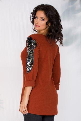 Bluza Camelia caramizie cu aplicatii din paiete pe maneci