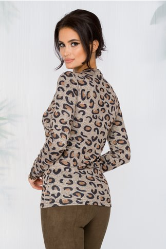 Bluza Cami bej cu animal print