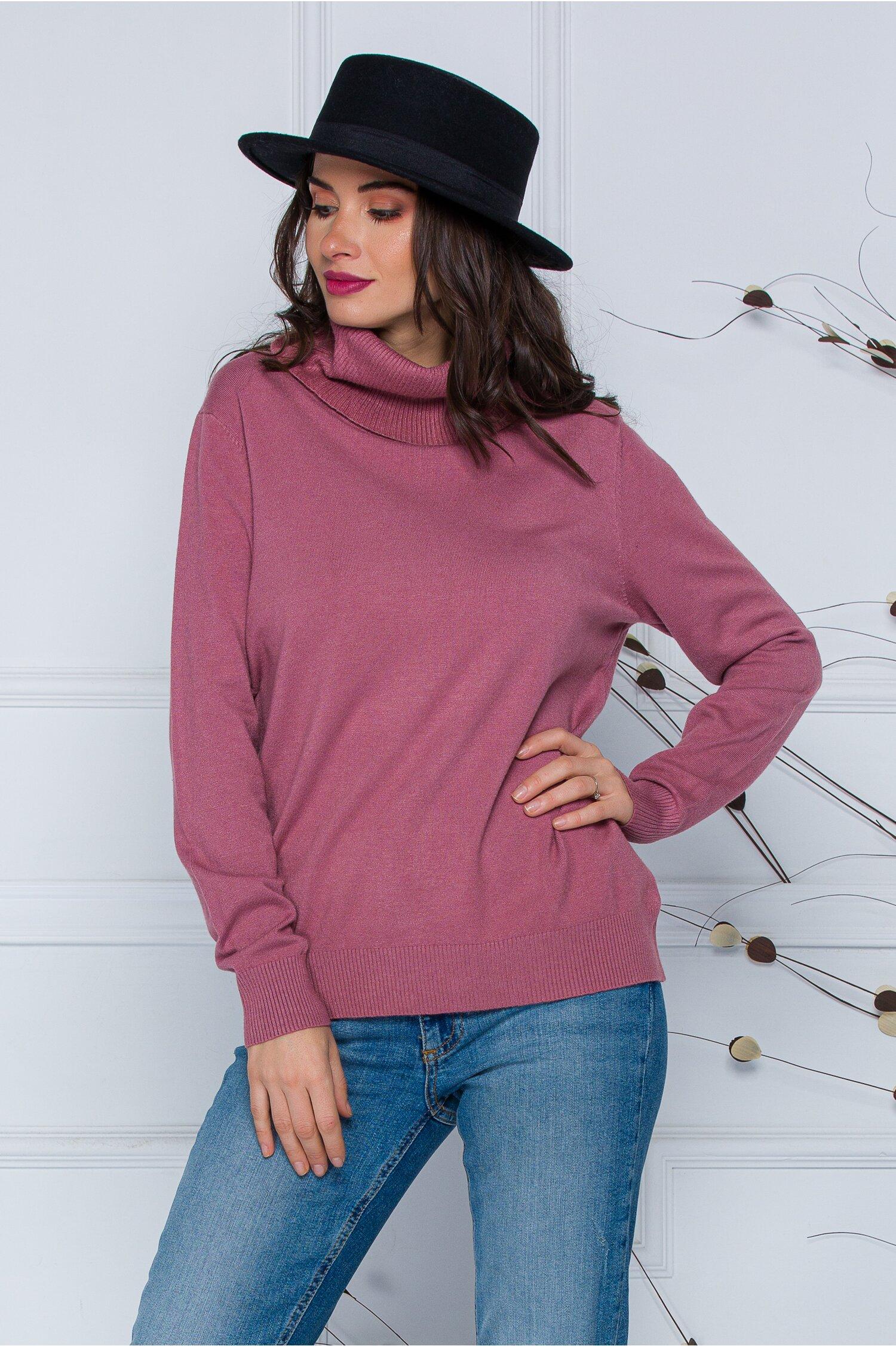 Bluza Cami roz prafuit cu guler maxi imagine