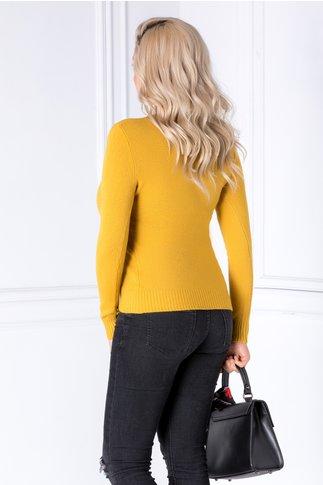 Bluza Camy galben mustar cu flori brodate 3D