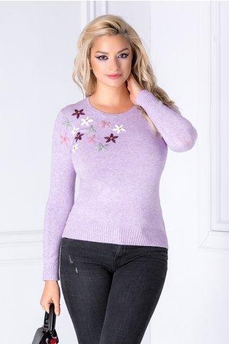 Bluza Camy lila cu flori brodate 3D