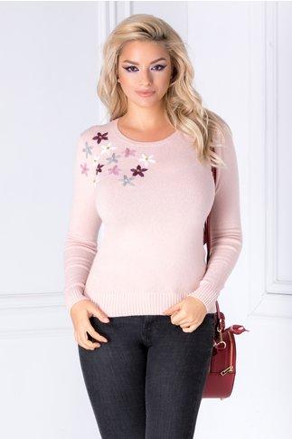Bluza Camy roz cu flori brodate 3D