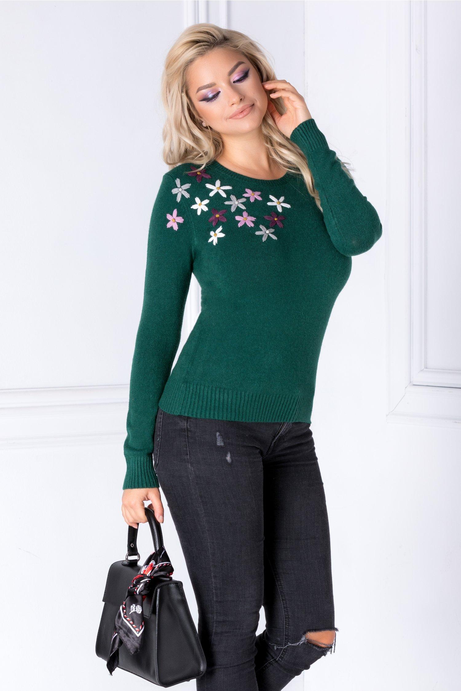 Bluza Camy Verde Cu Flori Brodate 3d